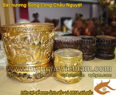 Bát hương đồng, Bát Hương Song Long Chầu Nguyệt, Bát Hương Đúc đồng mỹ nghệ, Đồ Thờ, Đồ thờ cúng