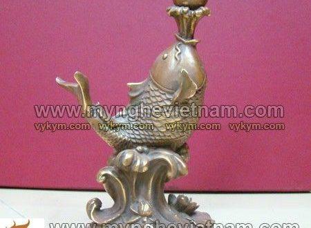 tượng cá chép hoa sen ngậm ngọc 25cm