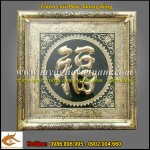 Tranh chữ Phúc khung đồng KT 80x80cm