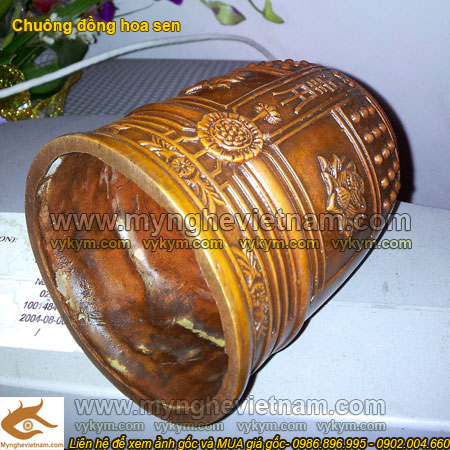 chuông đồng hoa sen cao 20cm