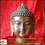 Tượng đầu Phật bằng đồng cao 15cm