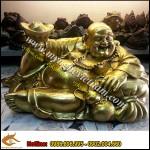 Tượng Phật Di Lặc tựa bao bố dâng tiền cao 35cmx60cm