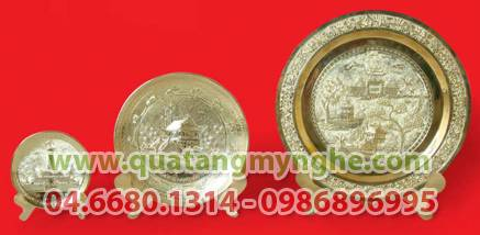 Đĩa đồng mỹ nghệ,đĩa đồng vàng,đĩa chùa 1 cột,khuê văn các,Quà tặng đối tác