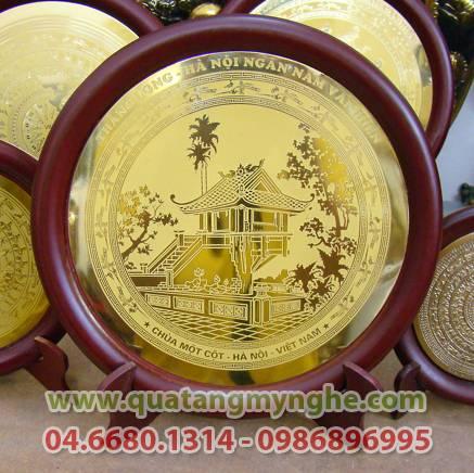 Đĩa đồng , đĩa ăn mòn, chùa một cột hà nội, quà tặng, quà tặng mỹ nghệ, đĩa lưu niệm