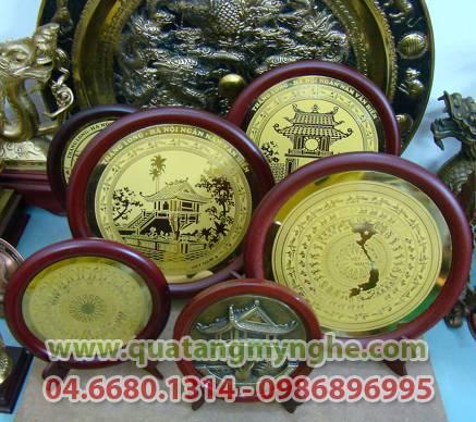 đĩa đồng, đĩa ăn mòn, đĩa quà tặng, quà lưu niệm, quà tặng mỹ nghệ, mặt trống đồng