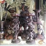 Đỉnh Đồng Song Long đúc nổi, cao 60cm, ngũ sự đồng vàng