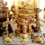 Đỉnh đồng song long đúc nổi 36cm, đồ thờ cúng tam sự ngũ sự
