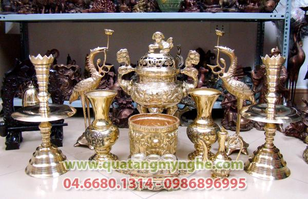 Đỉnh đồng Song Long, Đỉnh thờ màu vàng bóng, đỉnh đồng, Đỉnh thờ, đúc đồng cao cấp Đỉnh cao 50cm