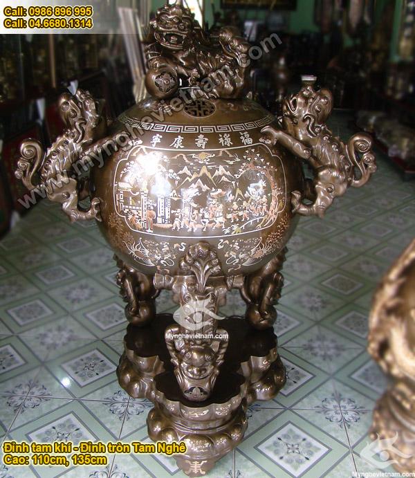 đỉnh thờ cúng đỉnh tròn tam nghê thất nghê khảm bạc tam khí 1