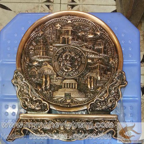 Đĩa đồng 6 cảnh Hà Nội, Văn hóa Hà Nội, Việt Nam, sản xuất quà tặng, đĩa đồng lưu niệm, chùa 1 cột, khuê văn cac, tháp rùa, lăng bác,chợ đồng xuân,cầu thê húc