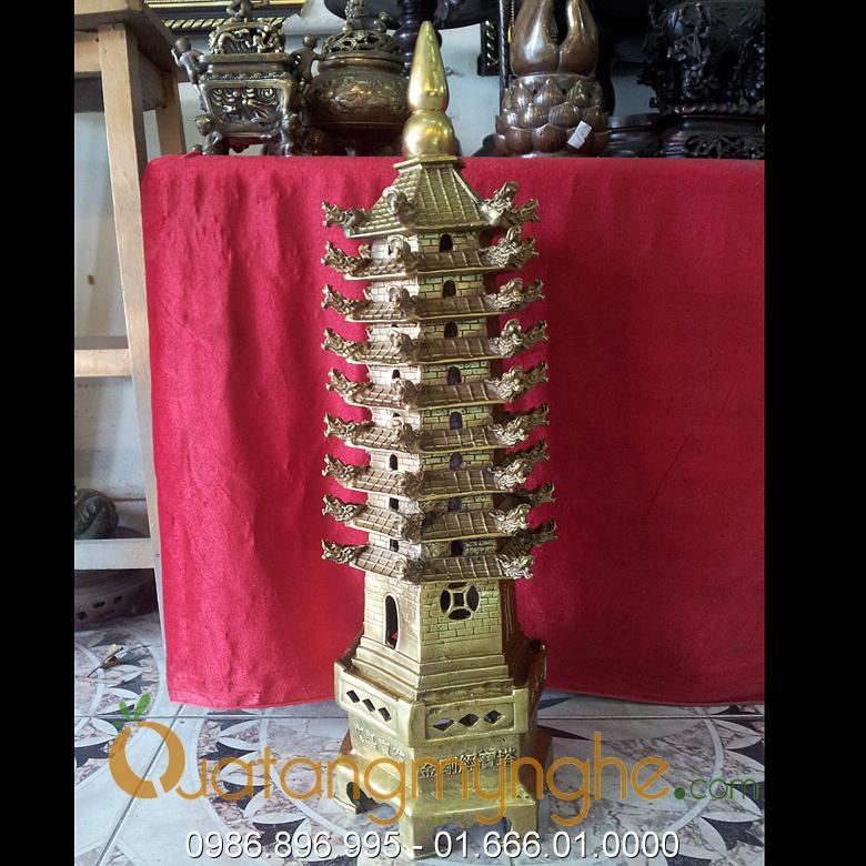 tháp văn xương phong thủy bằng đồng cao 60cm
