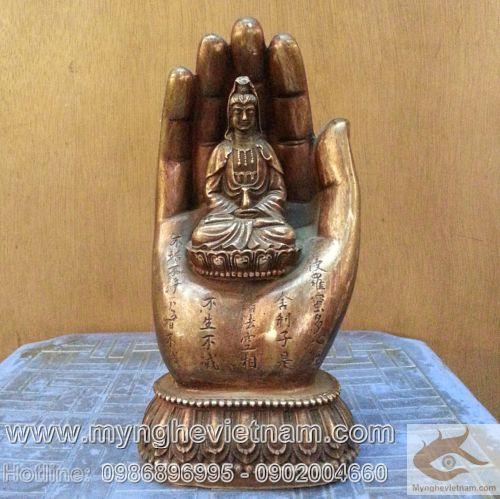 Bàn tay phật bằng đồng, sản xuất đồ thờ cúng, đúc tượng phật, tượng quan âm bồ tát, tượng phật thờ cúng bằng đồng