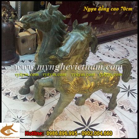 tượng ngựa đồng phong thủy cao 70cm, tượng ngựa thờ cúng cống phẩm
