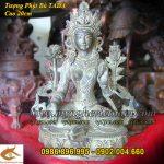 Tượng Phật bà tây tạng cao 20cm cầm hoa sen