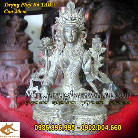 Tượng Phật bà tây tạng cao 20cm cầm hoa sen0