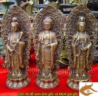 Bán bộ tượng đồng tam thánh, Tam thế Phật, tây phương tam thánh, kt cao 20cm, chat lieu bang dong vang gia co, duoc lam do tho cung, tuong phat tho cung gia dinh