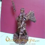 Tượng Quan Công cưỡi rồng cao 25cm lưng đeo cờ