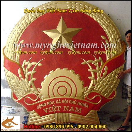 Quốc huy Việt Nam bằng đồng đường kính 210cm,chạm đồng chế tác phù điêu đồng