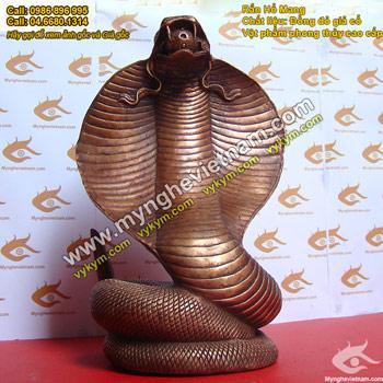 tượng rắn đồng phong thủy, tượng rắn hổ mang rắn chúa