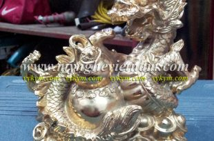 tượng rồng cuộn hồ lô đồng