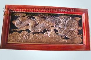 tranh rồng bằng đồng vờn cầu lửa, tranh đồng đỏ chạm rồng phượng 1