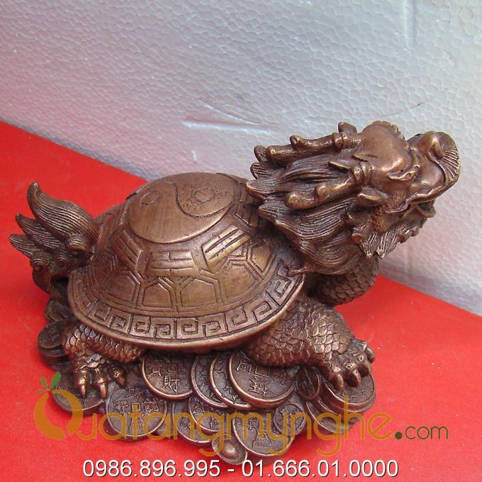 rùa đầu rồng bằng đồng, long quy phong thủy bát quái đúc đồng 3