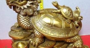 rùa đầu rồng bằng đồng, long quy phong thủy lưng cõng con đúc đồng