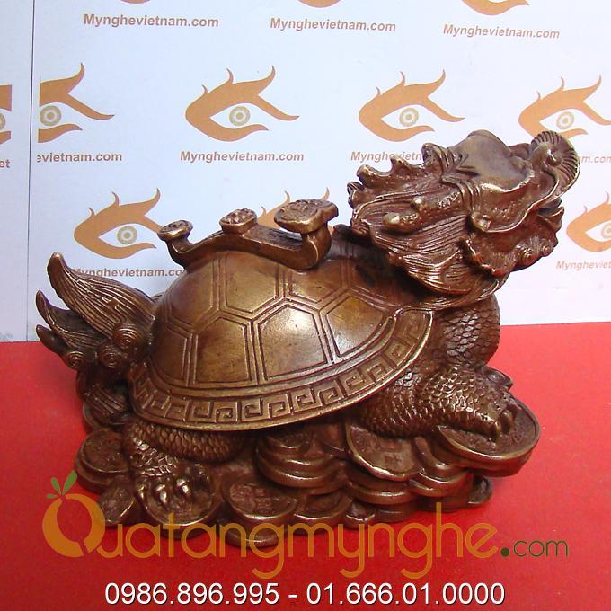 rùa đầu rồng bằng đồng, long quy phong thủy lưng cõng tiền đúc đồng 1
