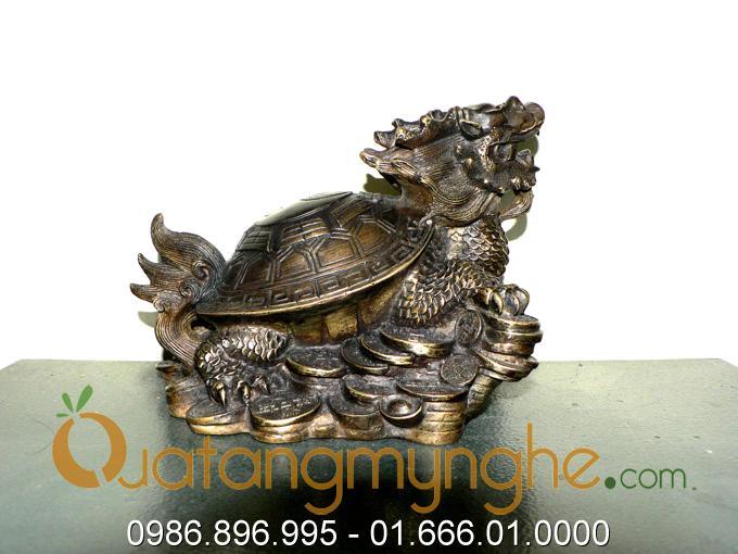 rùa đầu rồng bằng đồng, long quy phong thủy bát quái đúc đồng 4