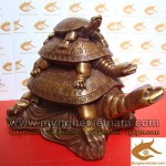 Tượng tam rùa đồng phong thủy, rùa cõng rùa chữ thọ