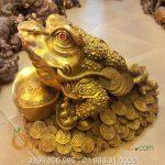 Cóc 3 chân phong thủy ngồi tiền cao 33cm bằng đồng