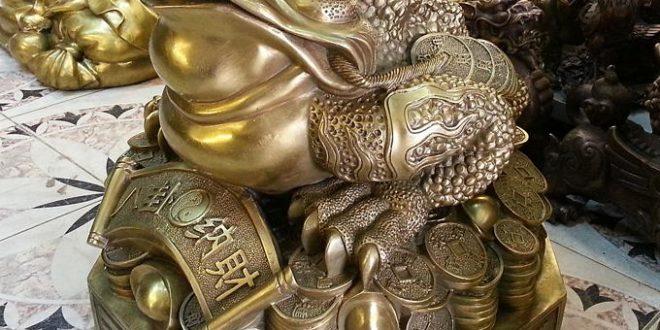 thiềm thừ phong thủy bằng đồng cỡ to cao 50cm