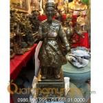 Tượng Trần Hưng Đạo khảm bạc tam khí cao 70cm