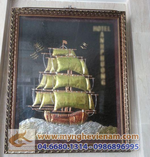 Tranh thuận buồm xuôi gió,Tranh thuyền buồm, Nhất định thuận lợi,Tranh phong Thủy, chất liệu đồng
