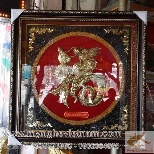 Tranh Chữ Phúc Rồng, Ngũ Phúc Lâm Môn, Phúc Như Đông Hải,tranh đồng,tranh chữ phúc,tranh đồng xâm, tranh đại bái,chất liệu đồng vàng nguyên chất, khung gỗ,Chữ phúc được chế tác thành hình Long, Phượng