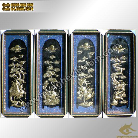 Tranh Tứ Bình, Mai sen cúc hồng, tranh chạm đồng, Đồ đồng mỹ nghệ; đại diện cho 4 mùa: Xuân, hạ, thu, đông chất liệu đồng thau vàng thúc nổi