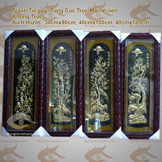 Tranh Tứ Quý Tùng Cúc Trúc Mai, tranh bốn mùa bằng đồng0