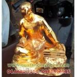 Tượng bác hồ viết sách bằng đồng cao 20cm mạ vàng 24k