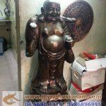 Tượng Phật Di Lạc gánh vàng cao 100cm bằng đồng giả cổ