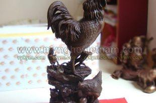 tượng gà trồng và gà mái gà con đúc đồng nguyên khối