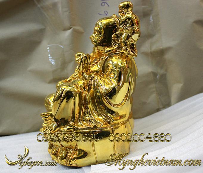 tượng phật di lặc ngũ thử đồng mạ vàng