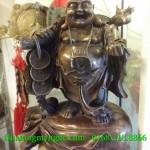 Tượng phật di lặc gánh tiền vàng cao 43cm, tượng thờ cúng bằng đồng