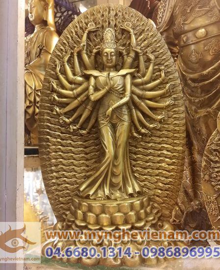tượng phật bà thiên thủ thiên nhãn, tượng nghìn mắt nghìn tay bằng đồng đúc 10