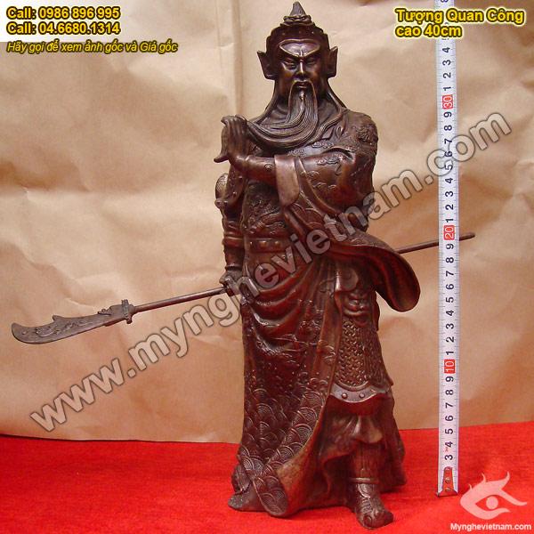 Tượng Quan Công, Quan Vũ, Quan Vân Trường,bằng đồng cao 40cm, tượng thờ phong thủy