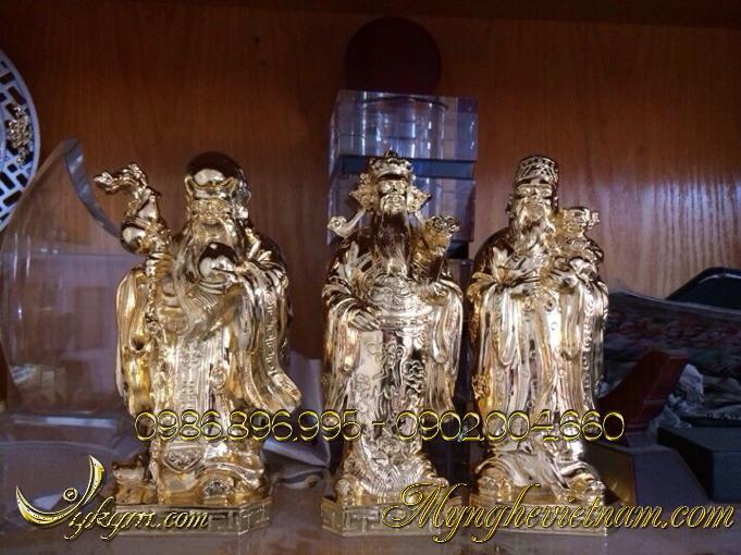 tượng tam đa phúc lộc thọ bằng đồng mạ vàng