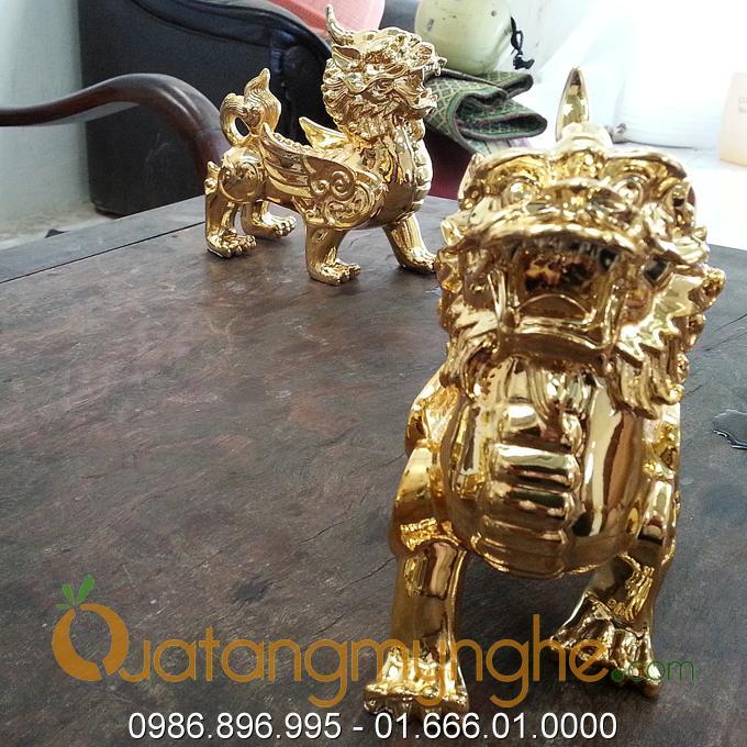 tỳ hưu phong thủy bằng đồng mạ vàng 24k 9999
