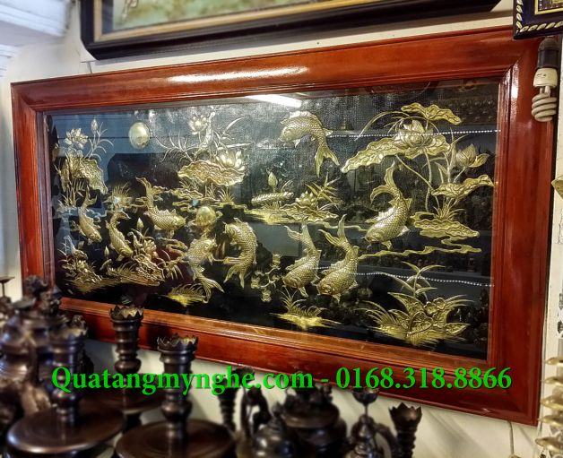 Tranh đồng cửu ngư, 9 con cá chép hoa sen, tranh đồng phong thủy