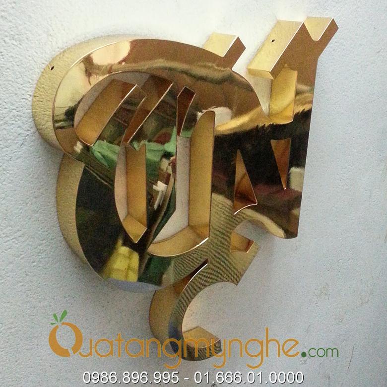 chế tác sản xuất logo công ty bằng đồng, logo mạ vàng 1