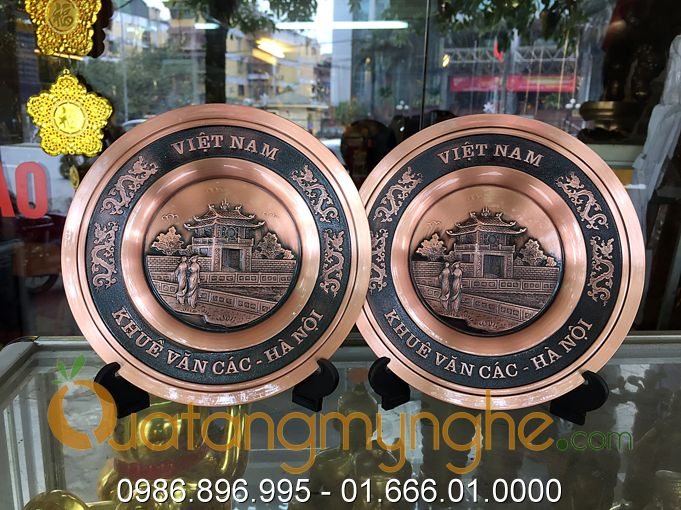 đĩa đồng lưu niệm, quà tặng đĩa đồng đúc, đĩa chùa 1 cột, đĩa khuê văn các