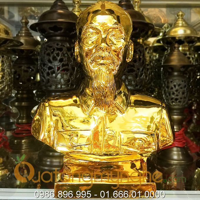 tượng bác hồ bằng đồng mạ vàng 24k